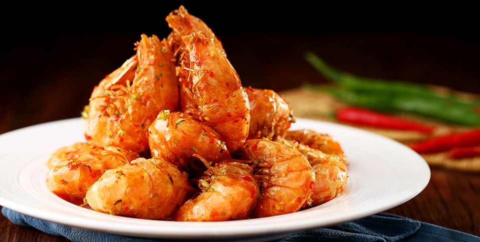 Gold Fried Shrimps In Hot Spicy Sauce